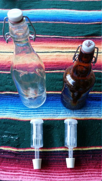 Bottles and airlocks for brewing Kombucha