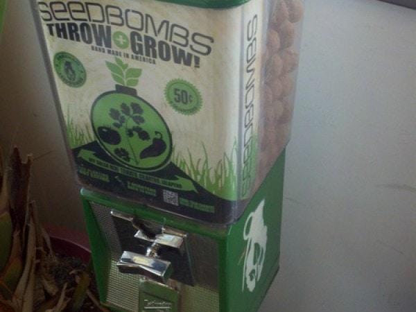 Seed bomb dispenser inside Cafe de Leche