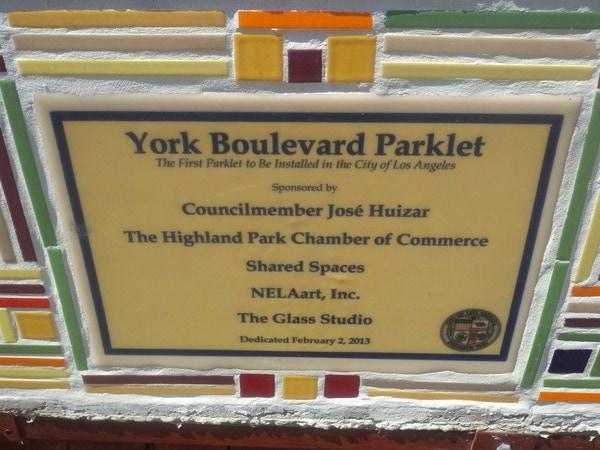York Boulevard Parklet sign